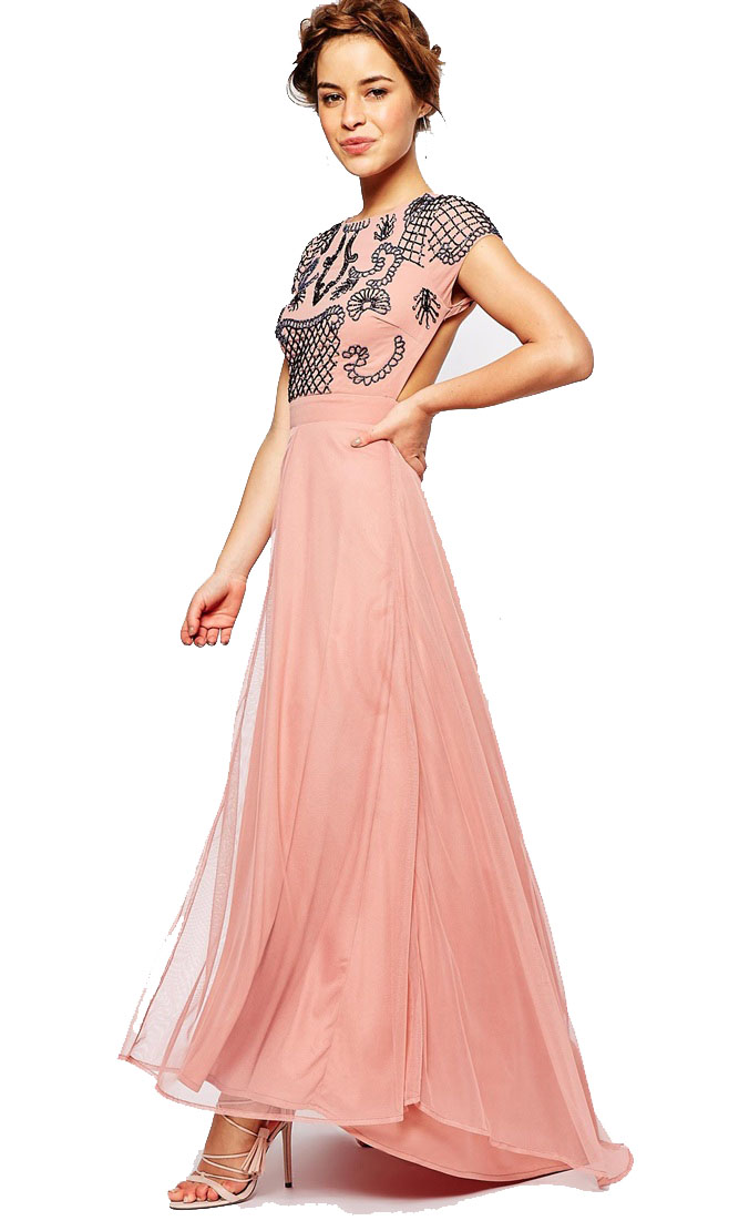 Maya Petite Allover Embellished Maxi Dress With Open Back