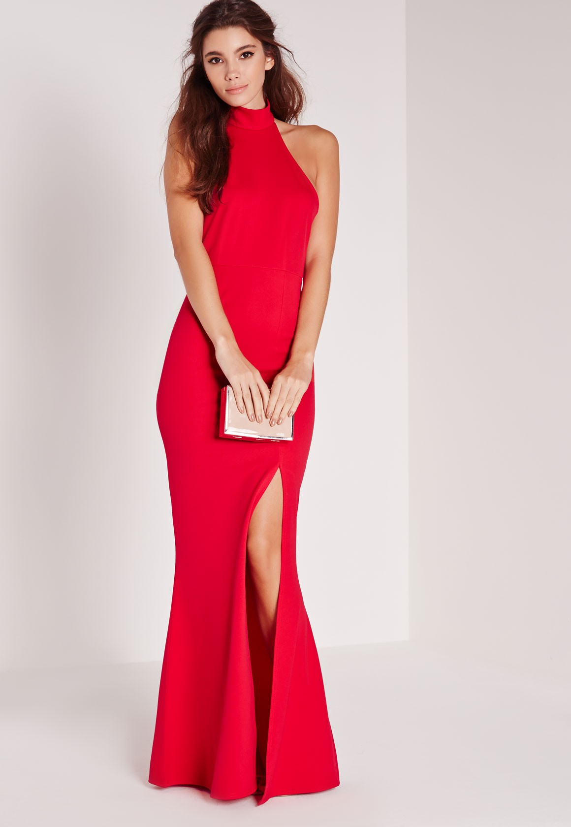 High neck maxi dress in red Image from Missguided