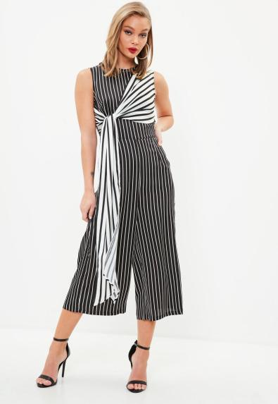 black-and-white-stripe-culottes-jumpsuit